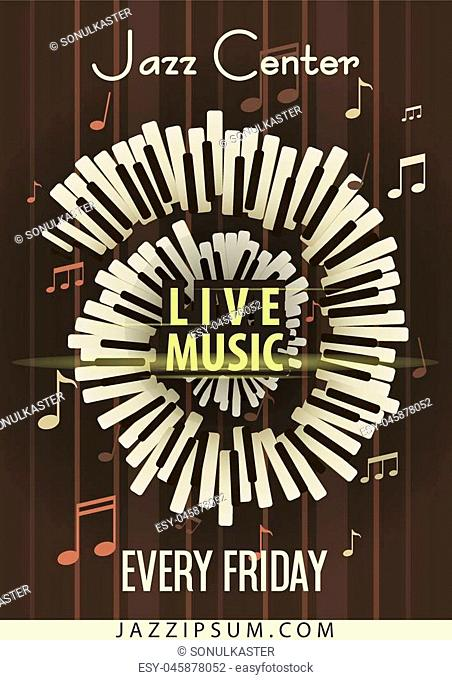 Jazz Live music festival, poster background template. Keyboard with music notes. Flyer design. Vector Illustration