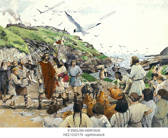 Tintagel Castle, Cornwall, Dark Ages, (1994). Reconstruction shows traders offering amphorae of wine or oil to the lord of the castle
