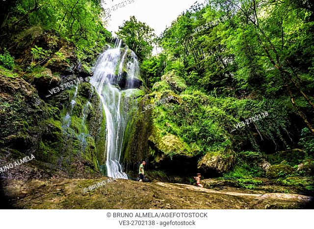 Autoire water fall in department of Lot region of Midi-Pyrénées, France