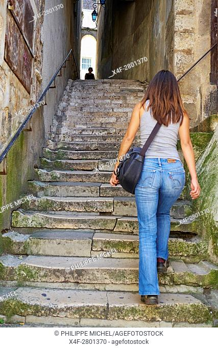 France, Cher (18), Bourges, historic center, escalier Mirebeau stairs