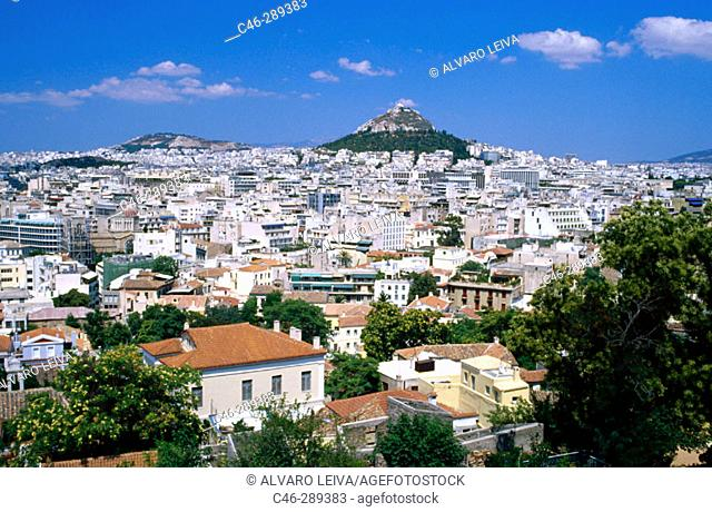 Sight with Lykavittos Hill in background. Athens. Greece