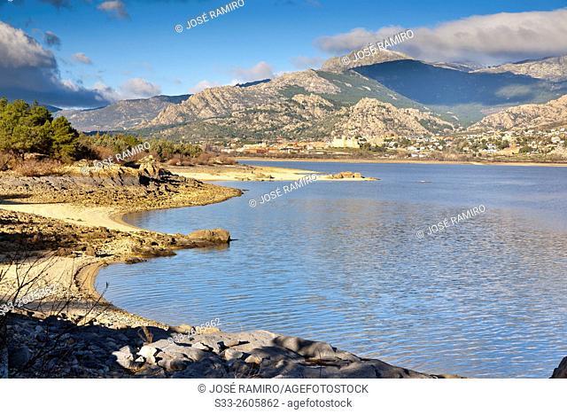 Santillana reservoir and Sierra de Guadarrama in Manzanares el Real. Madrid. Spain. Europe