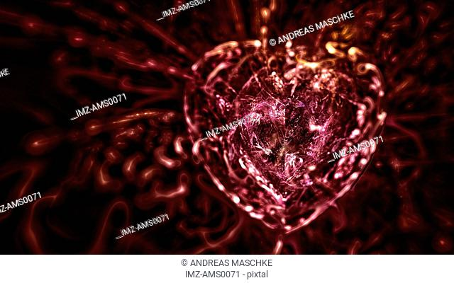 A red digital illustration of a heart