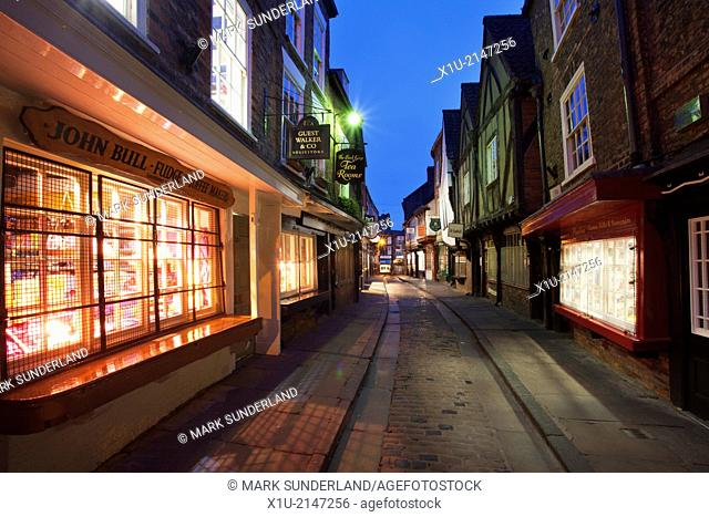 The Shambles at Dusk York Yorkshire England