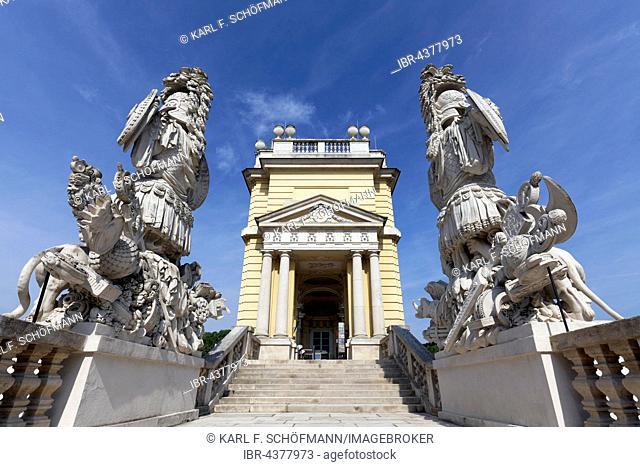 Stairway to Gloriette, ancient Roman trophies and armour, Schloss Schönbrunn, Hietzing, Vienna, Austria
