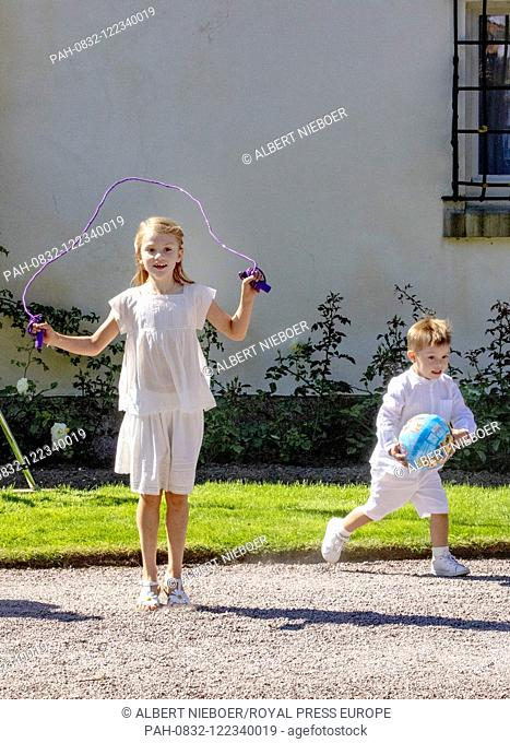 Princess Estelle and Prince Oscar of Sweden at Solliden Palace in Borgholm, on July 14, 2019, to attend the celebrations of Crown Princess Victoria her 42nd...