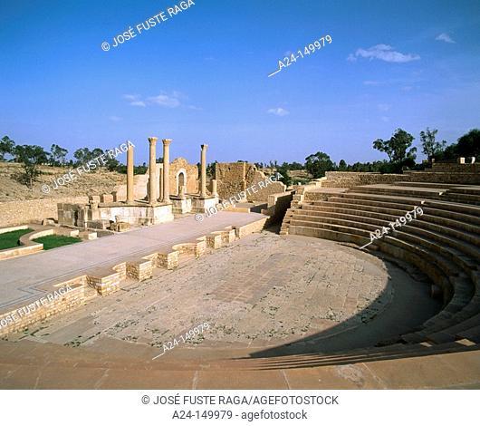 The Amphitheater. Roman ruins of Sbeitla. Tunisia