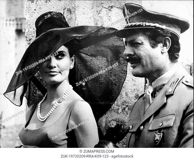 June 2, 1965 - Paris, France - Actor MARCELLO MASTROIANNI and co-star actress MARISA MELL, acing in a scene from the film
