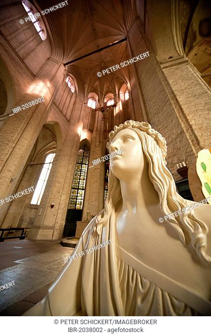 Baptism angel inside the gothic Petrikirche, St. Petri church, in Wolgast, Mecklenburg-Vorpommern, Germany, Europe