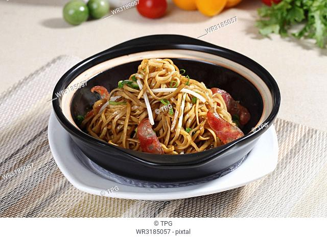 sausage fried noodle