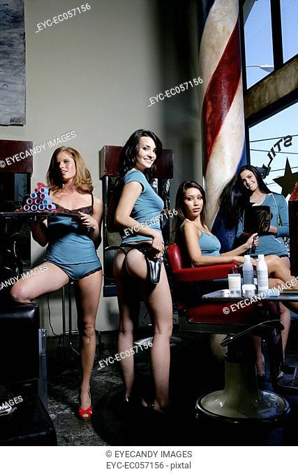 Four women in a salon