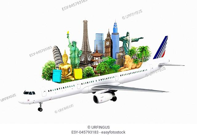 concept travel. travel the world by airplane, attractions planet, 3d illustration