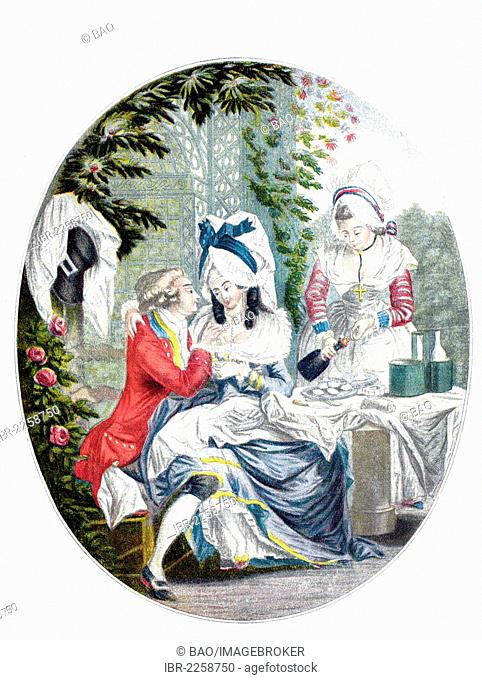 Feast of the lovers, gallant French colour engraving by Le Clerc, 1810