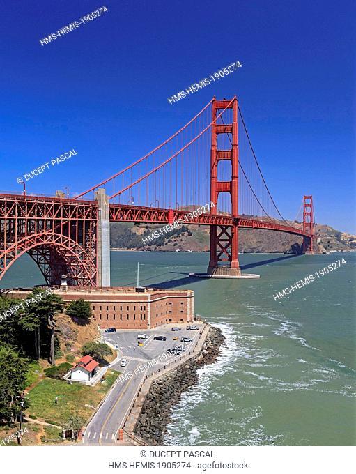 United States, California, San Francisco, Golden Gate National Recreation Area, Presidio of San Francisco, Fort Point and the Golden Gate Bridge
