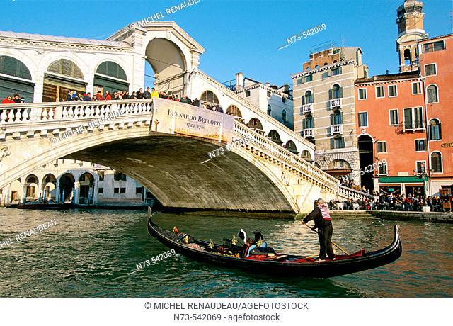 Rialto Bridge and Grand Canal, Venice. Veneto, Italy