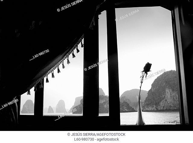 Flower in the window, Halong Bay, Vietnam
