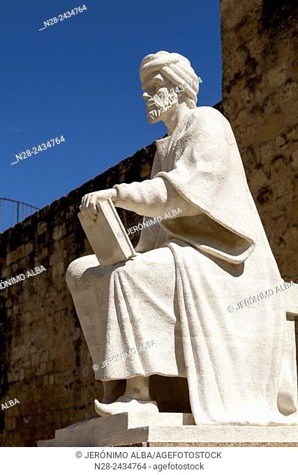 Statue of Averroes, Muslim polymath born in Cordoba, Andalusia, Spain