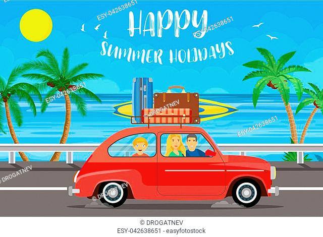 Happy family traveling by car with a luggage bags on the roof and with surfboard on a beach with palms. Summer tourism, travel, trip and surfer