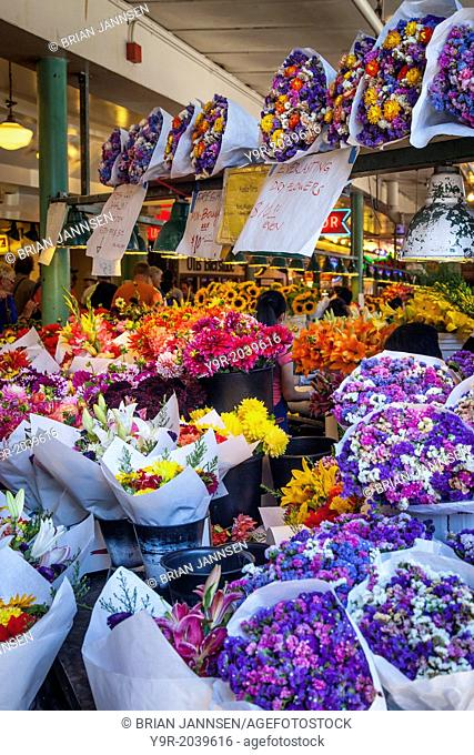 Flowers for sale at Pike Place Market in Seattle Washington, USA