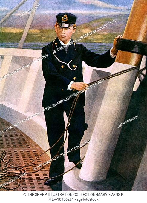 Prince George (later King George V) in naval uniform as a midshipman, on board ship