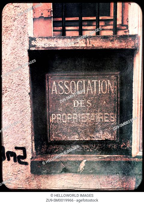 Association des propriétaires (owners association) old sign in French on metal box, Clermont Ferrand, Auvergne, France, Europe