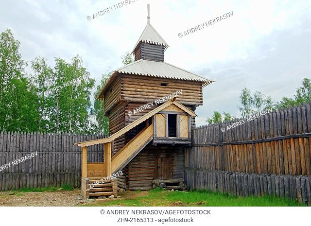 "Spassky passable tower of the Ylym jail, 1667. """"Taltsa's"""" (Talzy) - Irkutsk architectural and ethnographic museum. Baikal, Siberia, Russian Federation"