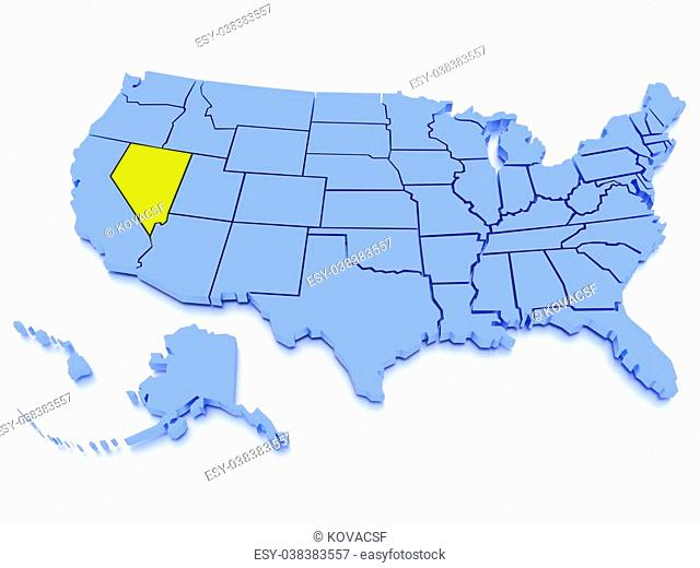 a 3D rendered map of USA - State Nevada