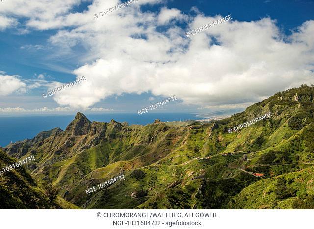 Panorama von Mirador Pico del Inglés, Las Montanas de Anaga, Anaga Gebirge, Teneriffa, Kanarische Inseln, Spanien, Europa
