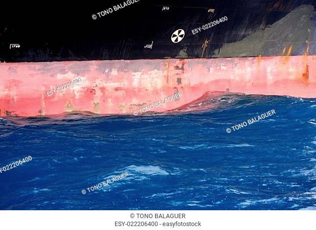 Anchored steel boat starboard side detail