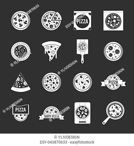 Pizza icons set white isolated on grey background