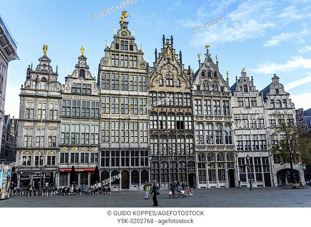 Antwerp, Belgium. Mediaval buildings and residences at Antwerp's Great market Square are one of the cities great attractions for travelers