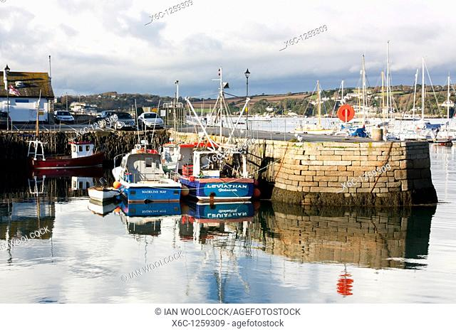 Reflections in Falmouth Harbour Cornwall England