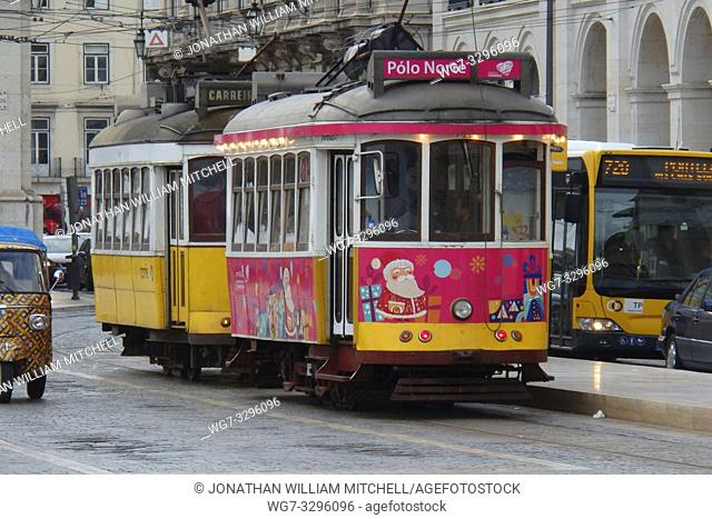 PORTUGAL Lisbon -- 15 Dec 2014 -- Christmas tram (with jokingly it's destination as the North Pole) in the Praca do Commercio in Baixa Lisbon Portugal --...