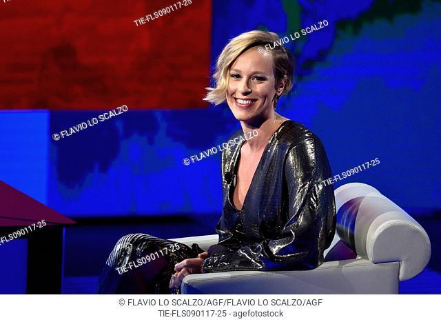 The champion swimmer Federica Pellegrini during the tv show Che tempo che fa, Milan, ITALY-08-01-2017