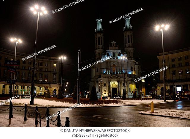 City center of Warsaw at night, Church of the Holiest Saviour, plac Zbawiciela, Saviour Square, Srodmiescie Poludniowe, Warsaw, Poland, Europe