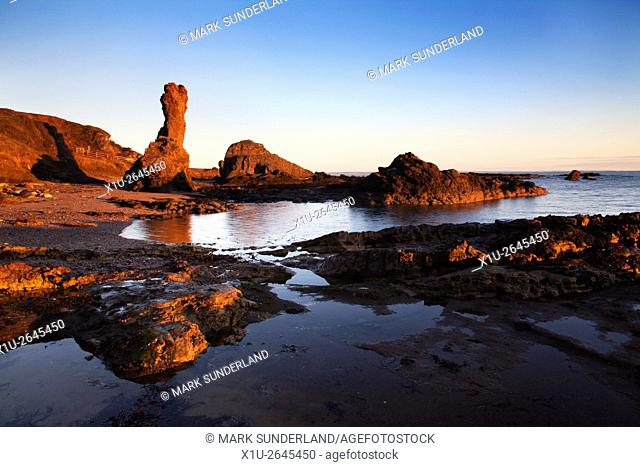 Rock and Spindle at Sunrise on the Fife Coast path near St Andrews Fife Scotland