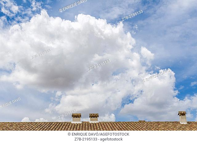 View of a roof house in Chinchon village, Madrid province, Spain