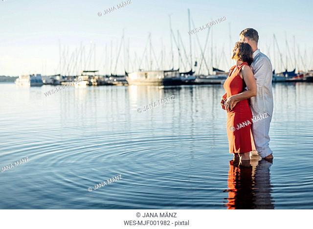Couple enjoying sunlight at Lake Cospuden