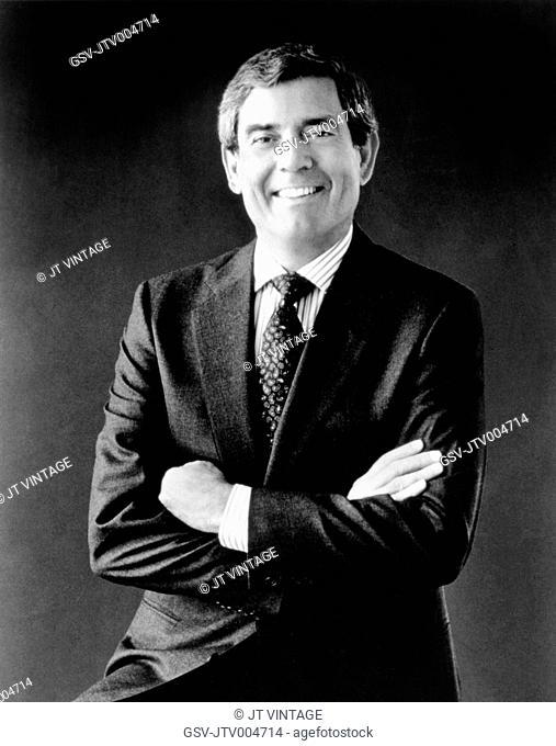 Dan Rather, American Broadcast Journalist, Portrait, circa early 1980's
