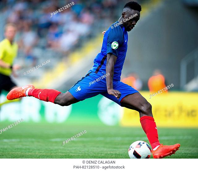 France's Jean-Kevin Augustin goes for goal 1:5 during the match of the Preliminary Round, Group B, U-19 game between Netherlands and France in the Scholz Arena