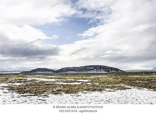 Midfell mountain near Thingvallavatn lake (region of Sudurland, Iceland)