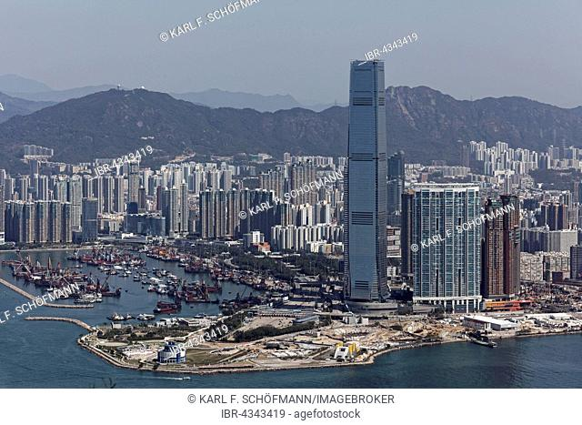 Skyscrapers in the district of West Kowloon, Skyscraper International Commerce Centre, high-rise residential building The Harbourside and The Arch