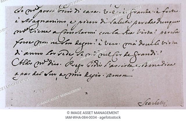 End of an autograph letter addressed to the Duke of Alba XII by Domenico Scarlatti (1685-1757) an Italian Baroque composer. Dated 18th Century