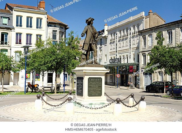 France, Meuse, Verdun, Place Chever, statue of Francois Chevert conducted in 1837 by sculptor Henri Lemaire, hired as a private soldier he became famous and...