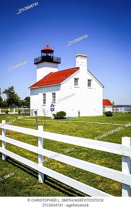 The Sand Point Lighthouse at Escanaba in the Upper Penninsula of Michigan MI