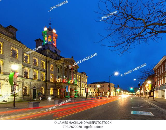 The Neoclassical 'Victoria Hall' by Kivas Tully with Christmas Lights at dusk. Cobourg, Ontario, Canada