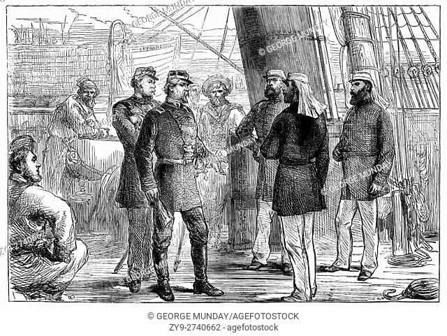 CSS Shenandoah was an iron-framed, teak-planked, full-rigged ship, with auxiliary steam power. After she surrendered on the River Mersey, Liverpool