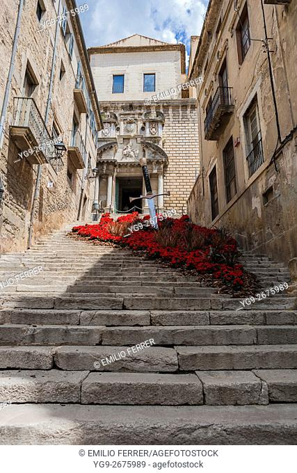 SANT MARTA CHURCH WITH FLORAL ART EXHIBITION IN GIRONA. CATALONIA. SPAIN