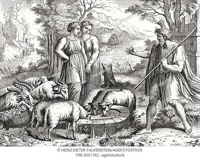 Jacob meets Rachel and Leah, Fresco at the Vatican loggias, Vatican City, Rome, Italy, 19th Century