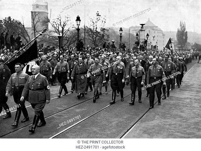 Nazi parade, Munich, Germany, 1934. Commemorating the anniversary of the Nazis failed Beer Hall Putsch of 1923. Joseph Goebbels (1897-1945)